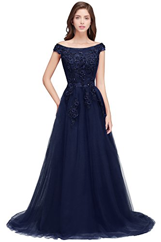 ndkleid Kurzarm A-Linie Tüll Festliches Kleid Applique Rückendfrei lang Navyblau 40 ()