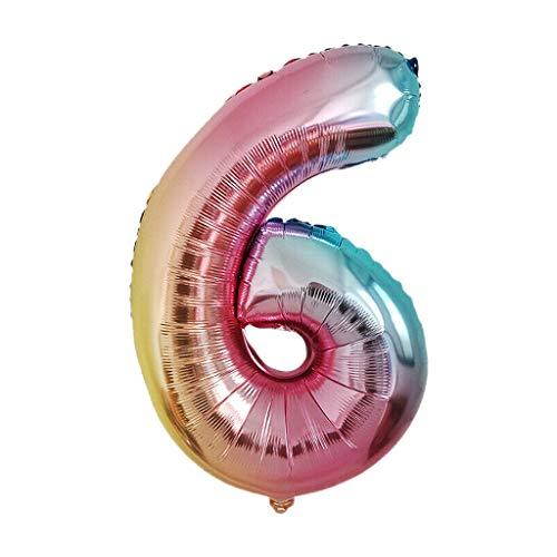 Plüsch Bildung Squishy Spielzeug aufblasbares Spielzeug im Freien Spielzeug,40-Zoll-Regenbogen-Steigungsnummer 0-9 Folien-Digital-Ballone für Geburtstagsfeier ()