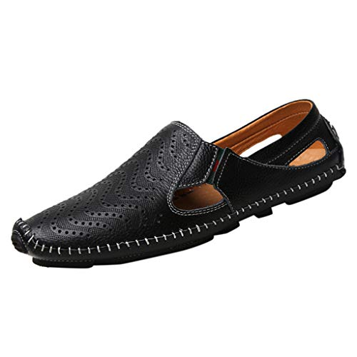 KonJin Men's Casual Loafers Summer Wild Peas Shoes Genuine Leather Breathable Fashion Slip On Driving Shoes (Penny Loafer Von Bass)