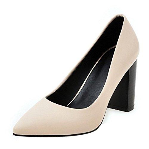 Pointu Talons Enfiler A Bloc Escarpins Beige Femmes Chaussures TAOFFEN Hauts xgTtqp06w