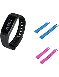 SODIAL(R) V07 Fitness Tracker Pedometer Smart Bracelet BP Monitor HR Tracking Watches(black Watch +blue Strap+...