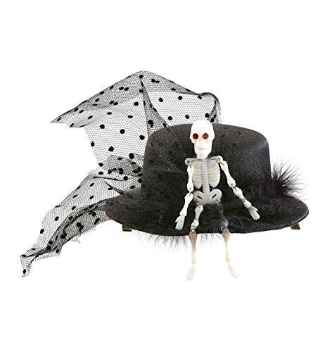 Widmann 9392N - Zylinderhut Mini mit Skelett und (Halloween Hüte)