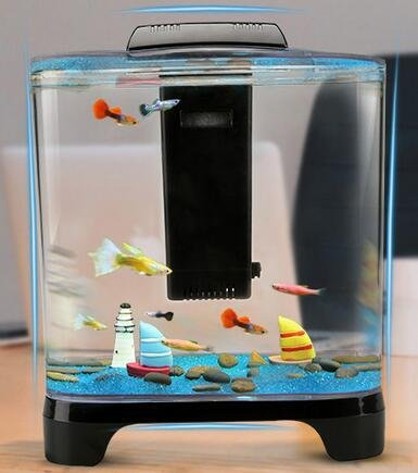 YANFEI 5.7L Desktop Creativel Mini Eco Anlage interne Power Filter Beleuchtung Aquarium integrierte transparente Desktop kreative Geschenk Fisch Tank