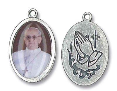 Medaillon mit Heiligem Franziskus, 2,5cm, emailliert, Metall, silberfarben (Bilder Papst Franziskus)
