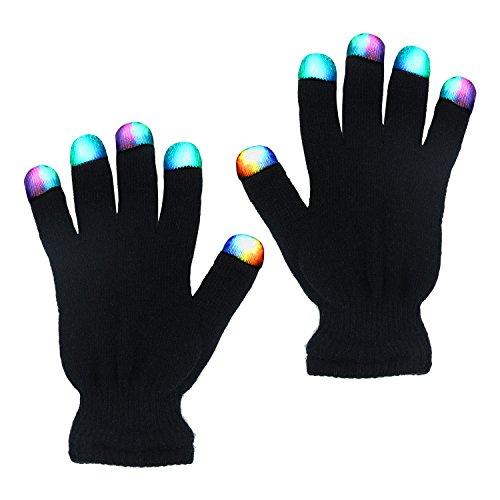 LED Handschuhe mit 3 Farben Leuchtenden Einstellungen Coole Spielzeuge 6 Modi blinkende Bunte Finger Kostüm Geschenk für Disco Party Halloween Club Weihnachten Geburtstag Ostern DJ Fahrradfahren in der Nacht (Schwarz)