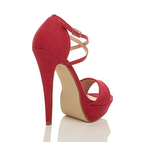 Donna tacco alto fibbia cinturini incrociati scarpe punta aperta sandali taglia Rosso scamosciata