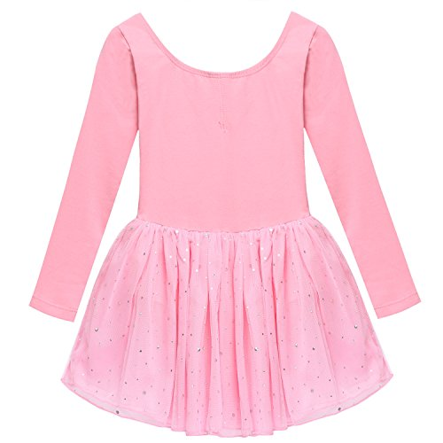 girl-long-sleeve-dancing-dress-tutu-leotard-with-little-paillettes-pink-black-pink-160age-for-14-15y