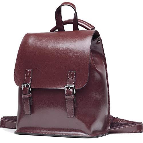 Borsa multifunzionale dello zaino della pelle dello zaino della cera dell'olio di Yoome per la borsa di scuola delle donne per le ragazze Viaggio Bga caffè scuro