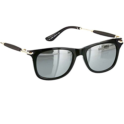Younky Discount Offer On UV Protected Stylish Silver Mercury Square Wayfarer Sunglasses for Men Women Boys & Girls ( Silver Stick Silver Wayfarer ) - 1 Sunglass Case