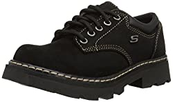 Skechers Women s Parties-Mate Oxford Shoe Black Suede Leather 8 M US