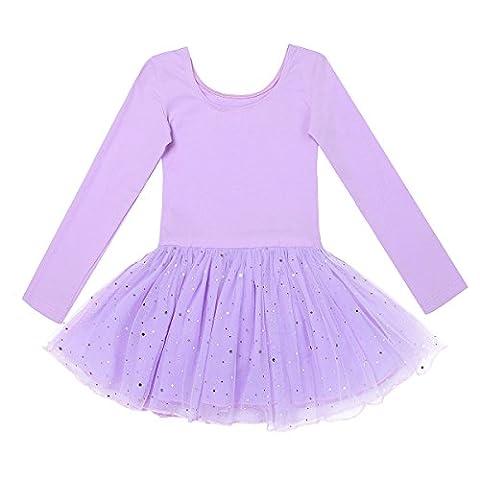 YiZYiF Kinder Mädchen Ballettanzug langarm Ballettkleid Ballett Trikot Turnanzug mit glänzende Rock Tütü in Rosa Lavendel Himmelblau und Schwarz Lavendel 116