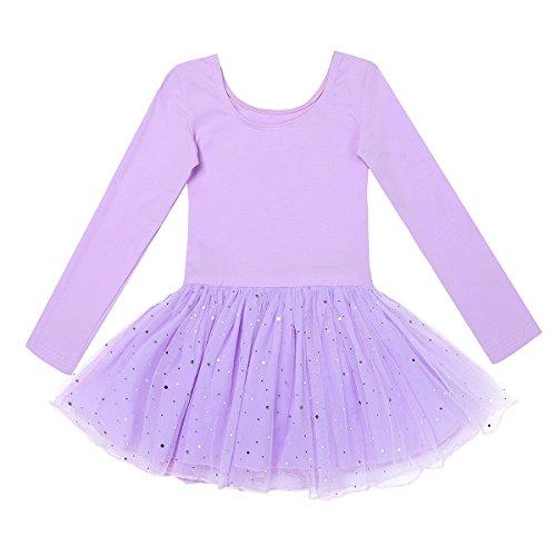 Freebily Kinder Ballettanzug Langarm Trikot Tanzbody mit Röckchen Mädchen Ballett Kleider Tanzkleid Ballettoutfit Kostüm 98-158 Lavender 104/4 Jahre