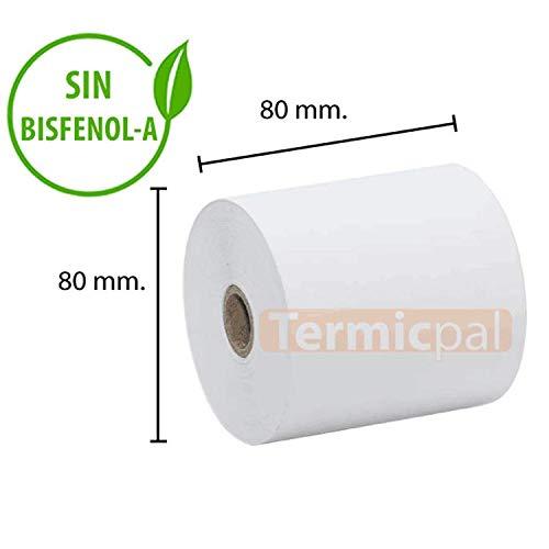 48 ROLLOS PAPEL TERMICO 80X80X12 SIN BISFENOL-A