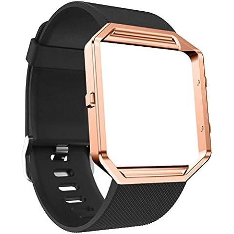 Para Fitbit Blaze reloj, Amlaiworld Ver Banda de silicona + Marco de metal (Negro)