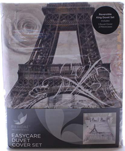 Bettwäsche Set - Paris, Eiffelturm mit Blumenmuster, Wendebettwäsche - King Size Bett