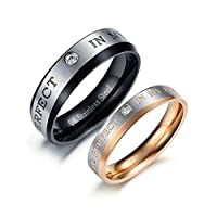 Black and Gold Couple Rings Solitaire CZ Promise Rings for Couples 2 Rings Women Size P 1/2 & Men Size N 1/2