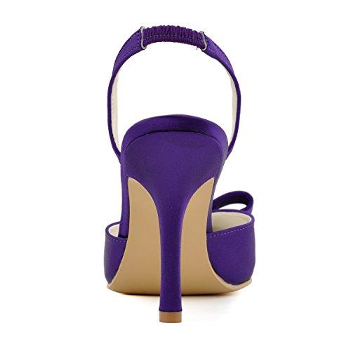 Elegantpark HC1404 bout pointu arc bride arrière Escarpins Femmes sandale Satin Chaussures de mariée Violet