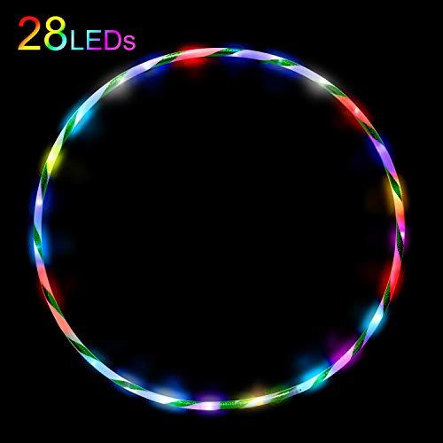 Hula/Hoop Reifen für Kinder ab 6 Jahre und Erwachsene Fitness Tanzen Übung Gewichtsreduktion Glühen Aufhellen Led Hula/Hoop 28 Farben Strobing Ändern Multiple Light 90cm(Ohne Batterie)