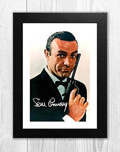 Engravia Digital Sean Connery 007 James Bond (5), Reproduktion, Signatur-Poster, Foto, A4 Schwarzer Rahmen (Signatur-foto-rahmen)