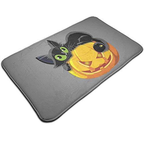 Dimension Art Halloween Cat Memory Foam Bath Mat Non Slip Absorbent Super Cozy Soft Velvet Bathroom Rug Carpet, 19.7