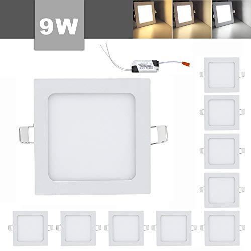 10 x 9 W LED Quadratisches Deckenleuchten Einaustrahler Super hell mit Trafo, Eckig Panel 3 Farbtemperaturen 3000-6500K[Energieklasse A++]