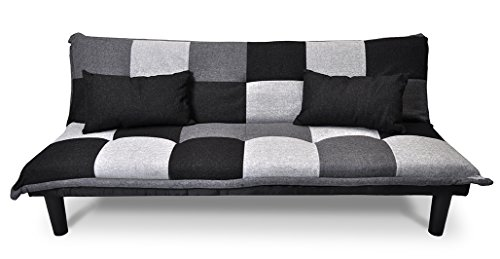 Samira Divano letto clic clac in tessuto grigio scuro - nero - grigio chiaro - Divanetto mod. Russell