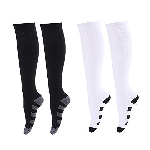 Tinksky Women Men Compression Socks Knee High Stocking Nylon Sports Athletic Running Socks for Exercise Soccer Ball 2 Pairs gift for friends - Size S/M(White Black)