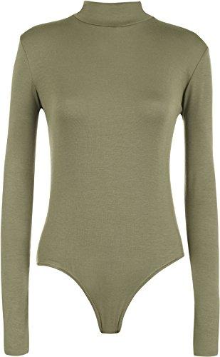 WearAll - Neu Damen Rollkragen Bodysuit Langarm Elastisch Gymnastikanzug Top - Khaki - 36-38 (Khaki Weste : Kleidung Damen)
