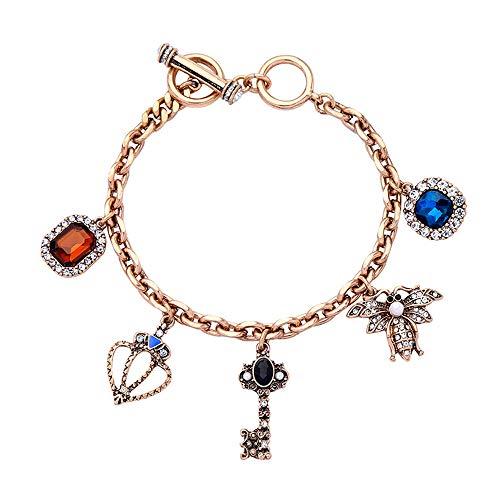 Sodhue Frauen Bangles kreative Krone Schlüssel Geometrie Form Form Knöchel Armband Multicolor trendy Manschette Armband für Reisen täglich Leben Party -