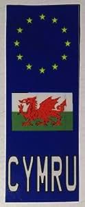 Autocollant plaque immatriculation pour moto Pays de Galles CYMRU Dragon gallois Identifiant
