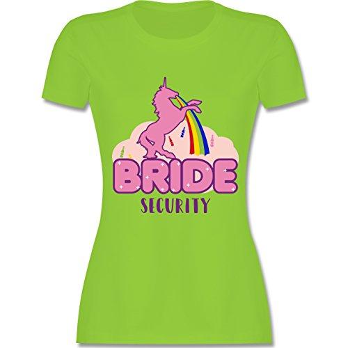 Shirtracer JGA Junggesellinnenabschied - JGA Bride Security Einhorn - Damen  T-Shirt Rundhals Hellgrün