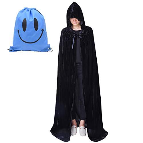 Myir Unisex Umhang mit Kapuze Samt Halloween Umhang für Erwachsene Kinder Cosplay Vampir Kostüm Halloween Kostüm (Schwarz Samt, L) (Halloween Umhänge Schwarz Samt Kostüm)