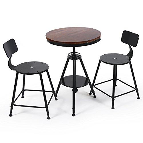 AHHC Ensemble de Table 2 chaises en Bois Métal Noir Métallique