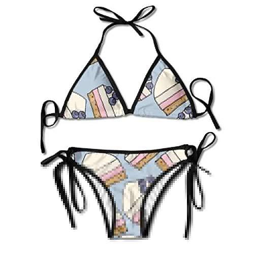 Bikini Swimwear Women's Thong Bikini Suit Swimsuit Delicious Dessert and Blueberry Sexy Bikini Set 2 Piece Oliven-dessert
