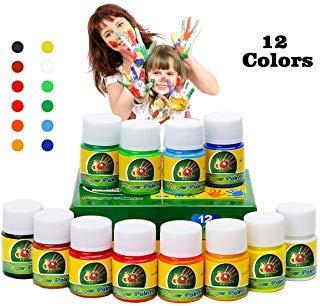 Hapree 12 colores para pintar con los dedos, sin gluten, pintura para niños no tóxica, color lavable para niños pequeños, juego para niños, 12x30ml (1.02 FL. Oz)