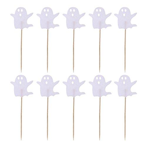D DOLITY 10stk. Halloween Kuchen Topper Cupcake Picks Tortenstecker Lebensmittel Dekoration, Schwarz - Weißer Geist