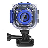 DROGRACE [NEW] Kids Camera Video Camera for Kids 1080P CamcorderWaterproof Action Cam Boys Girls Camera Toy Gift Built-in Game - Blue