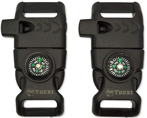 Trexi 2er Set klick-Verschluss mit Magnesium-Feuerstarter für Paracord-Armbänder und Gurtbänder | Schnellverschluss | mit Pfeife | 52mm und 62mm Länge (52mm)