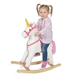 Pink Papaya Schaukel-Einhorn Fiona, Kinder Plüsch-Schaukeltier mit Sound, Kopfhöhe 70 cm, Sitzhöhe ca. 46 cm, Farbe: weiß mit rosa Mähne