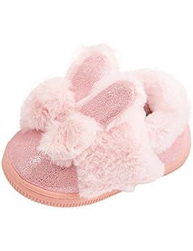 Longra Baby Kinder Mädchen Stiefel Schneestiefel Mädchen Warm Winterschuhe mit Bowknot Kaninchen Ohr Kinder weiche...