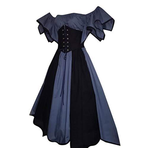 Damen Mittelalterliche Kleid mit Trompetenärmel, Rovinci Vintage Prinzessin Mittelalter Party Kostüm Maxikleid Prinzessin Renaissance Partykleid Gothic Kurzarm Karneval Cosplay Kostüme ()
