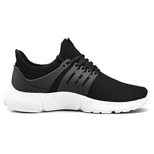ZOCAVIA Damen Herren Laufschuhe Sportschuhe Leicht Sneakers Atmungsaktive Turnschuhe Schnürer Schwarz-Weiß 42 EU