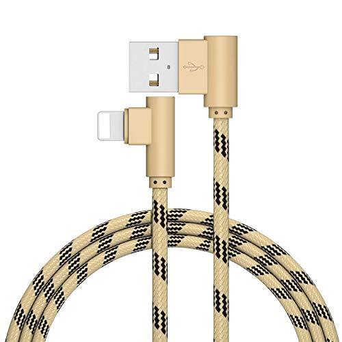 Superior ZRL® für iPhone Kabel abgewinkelt 90 Grad Nylon Geflochten Sync Daten Ladekabel für iPhone X/8/8 plus/7/7 plus/6er/6er plus/6/6Plus/5S/5C/5, iPad/iPod
