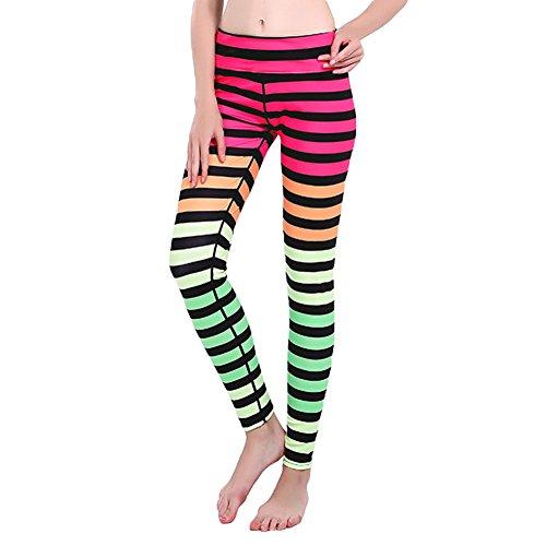 Femmes Stripes Leggings taille haute Yoga pantalons hibote Gym Fitness collants pantalons d'entraînement yoga-0233