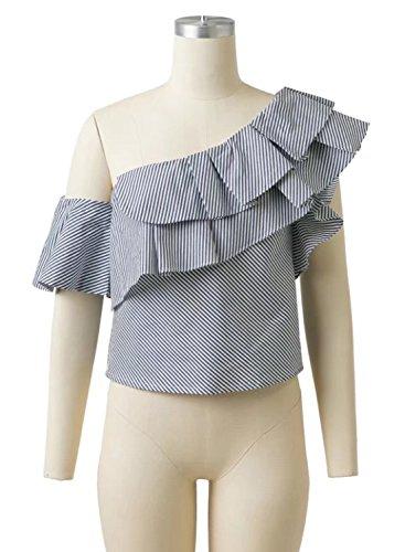 Futurino Damen Casual Streifen Doppel Rüschen Eine Schulter Bluse Shirt  Tops Schwarz