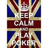 P2528Play Poker Funny WW2Union Jack Keep Calm and Carry On Range poster stampa