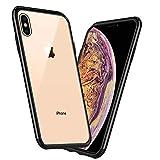 Mediom iPhone XS Max Hülle Durchsichtig Hochwertig Gehärtetes Glas Back Schutzhülle [Kratzfest] TPU Schwarz Rahmen Hüllen [Stoßfest] All-Fingerprint Soft Slim Handyhülle für iPhone XS Max - 6,5 Zoll