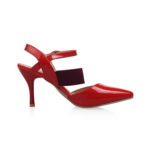 VogueZone009 Femme Couleur Unie Stylet Fermeture D'Orteil Boucle Sandales à Talons Hauts Rouge