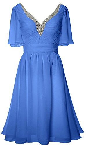 MACloth Women Short Sleeves Mother of Bride Dress V Neck Evening Formal Gown Blau