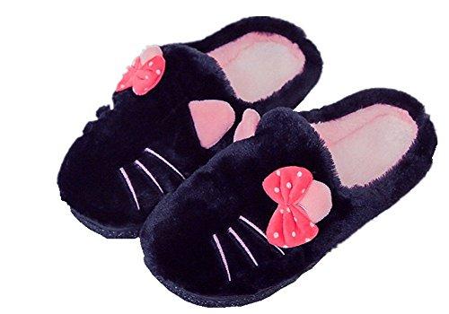 AILU Hausschuhe Damen Plüsch Winter Indoor Pantoffeln Wärme Weiche Leicht Cartoon Katze Plüsch Slippers für Herren und Damen (38/39 EU, Schwarz)
